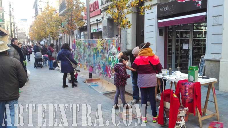 Taller graffiti infantil arte urbano Comerç Mercat Nou en Sants - Arte Extra 2017