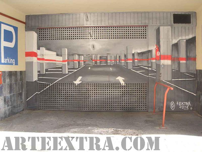 Trampantojo decoración puerta parking Barcelona en graffiti por ArteExtra