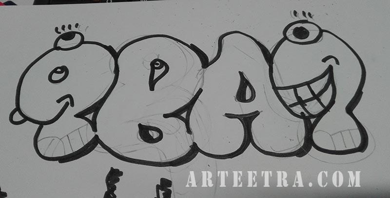 boceto graffiti burbuja Ibai barcelona