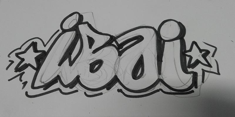 boceto habitacion infantil grafiti