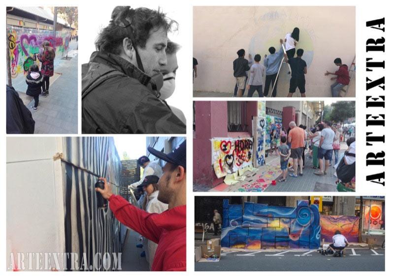 collage - Evento teambuilding talleres graffiti pintura Barcelona - ArteExtra Barcelona