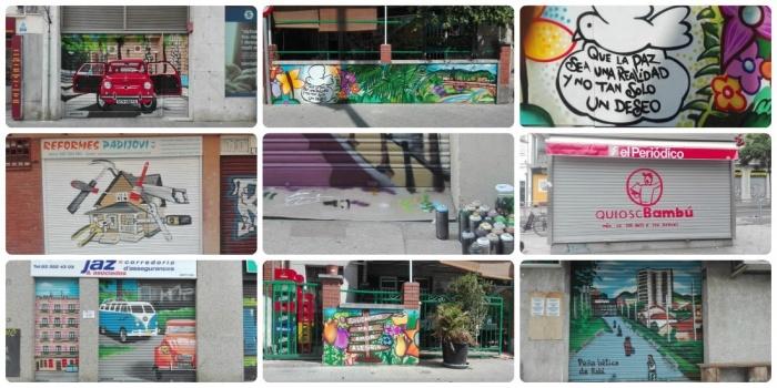 collage - Persianas y murales graffiti en Barcelona - ArteExtra 2019