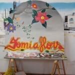 Cartel personalizado floristería sobre madera en Barcelona por ARTEEXTRA