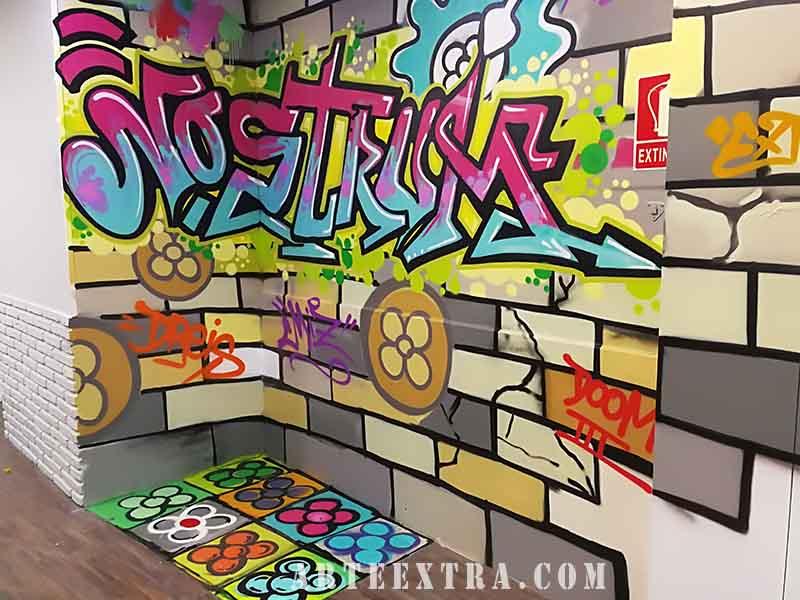 mural grafiti decoracion restaurante