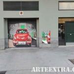 Puerta parking decorada 600 con pintura graffiti profesional en Barcelona