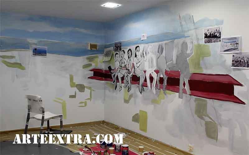 mural antes pintura proceso