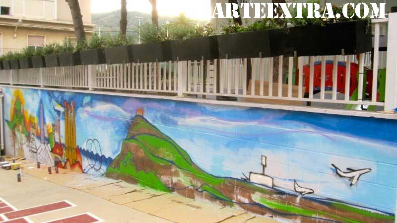 Murales graffiti profesional de Barcelona Oliana | ArteExtra