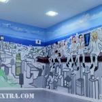 Panorámica graffiti mural interior clínica Murua Universal en Barcelona - ArteExtra