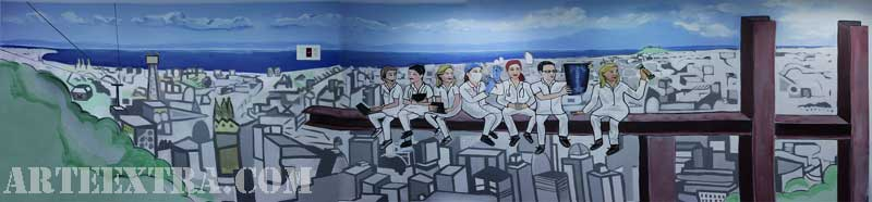 Graffiti mural interior clínica Mutua Universal en Barcelona - ArteExtra