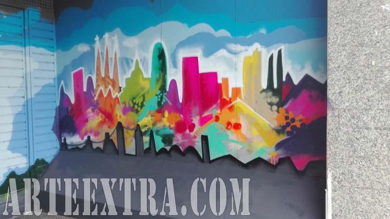Mural skyline Barcelona en parking Barcelona - ArteExtra