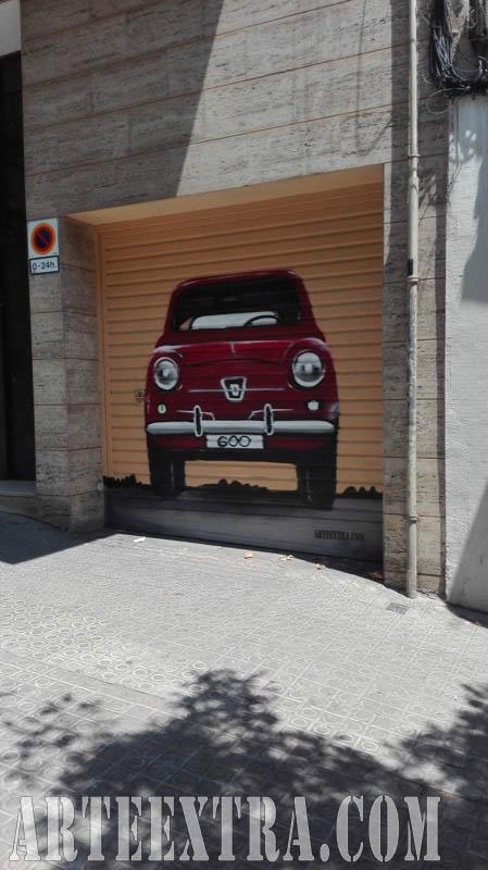 Decoración en graffiti 600 en parking Eixample Barcelona - ArteExtra
