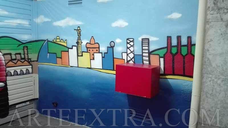 Puerta metálica parking en Les Corts Barcelona decorada en graffiti - ArteExtra - 3