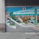Persiana parking metálica Park Güell - Pintura exterior profesional ArteExtra Barcelona