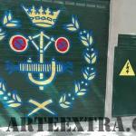 Decoración parking privado en Barcelona con dibujo logo Colegio Ingenieros