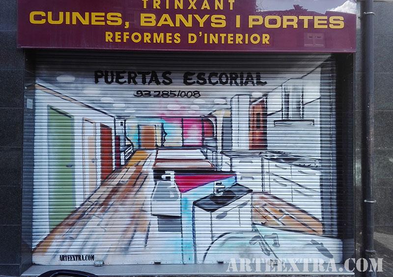 dibujo graffiti persiana barcelona