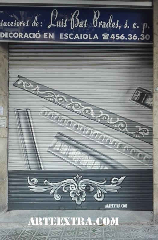 graffiti dibujo spray decoración persiana