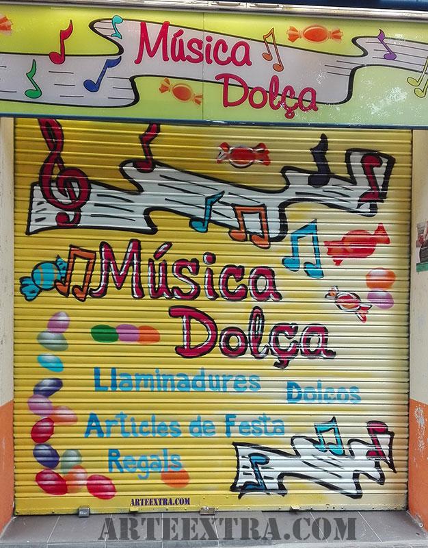 persiana graffiti comercio barcelona dulces